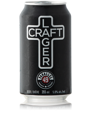 A can of beer that says Craft Lager in the style of the east van sign