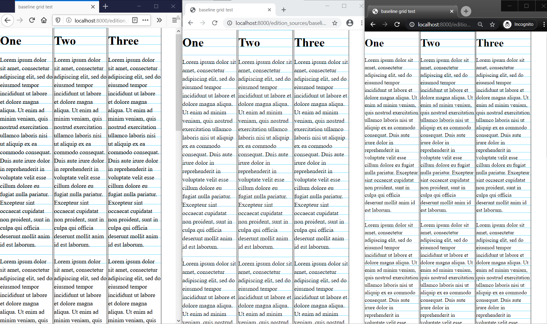 three browsers next to each other showing their different rendering of the same content.